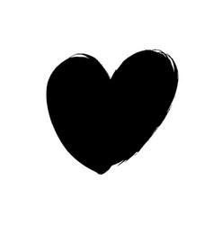 black heart icon object hand drawn love symbol vector image