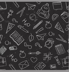 Blackboard school chalk icon seamless pattern vector