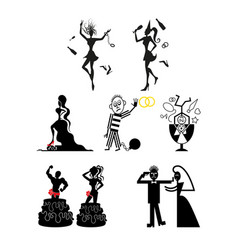 bride and groom wedding icons emblems logo vector image