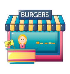 Burgers shop icon cartoon style vector