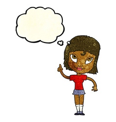 Cartoon woman with idea with thought bubble vector