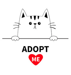 Cat head face head hands paw holding line adopt vector