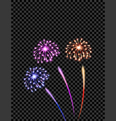 Celebratory violet yellow and blue fireworks vector