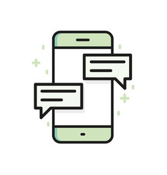 chat on smartphone outline icon flat line vector image