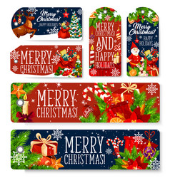 christmas decorations greeting tags vector image