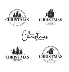 christmas greeting card design elements vector image