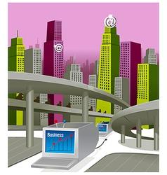 City skyline business growth vector