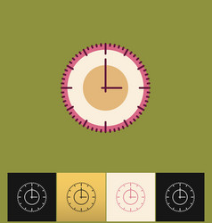 clock icon flat pink simple vector image