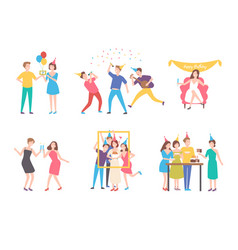 collection of people celebrating birthday - eating vector image