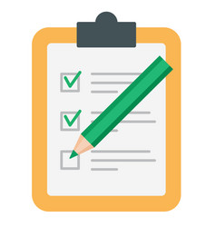 color pencil checking on to do list isolated vector image