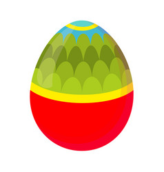 Colorful cartoon easter egg with pattern vector
