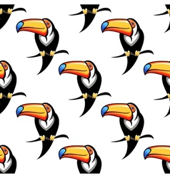 Colorful toucan bird seamless pattern vector