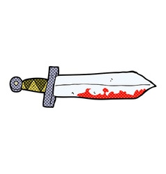 comic cartoon bloody sword vector image