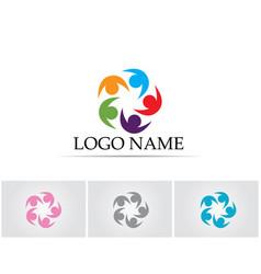community people logo five team vector image