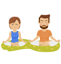 couple making yoga exercises outdoors vector image