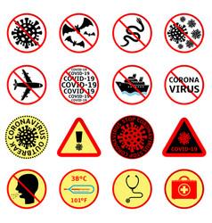 Covid-19 attention signs set coronavirus icons vector