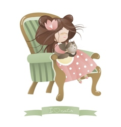 Cute girl with cat sitting in chair vector image