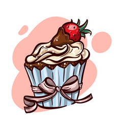 cute hand drawn cupcake with sweet strawberry vector image