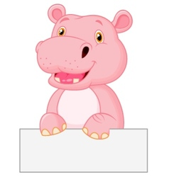 Cute hippo cartoon holding blank sign vector image