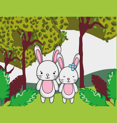 Cute rabbits cartoons vector