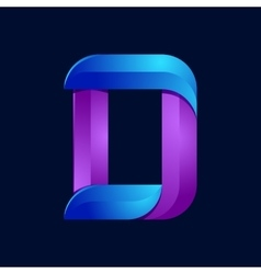 D letter volume blue and purple color logo design vector image