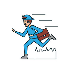 Delivery worker running with post bag icon vector