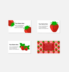 Design of business cards with fresh strawberry vector
