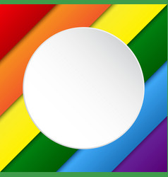 diagonal lgbt rainbow flag white circle vector image