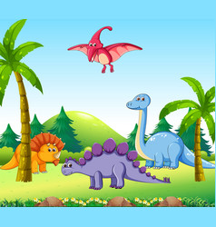 Different dinosaur in nature vector