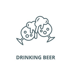 drinking beer line icon linear concept vector image