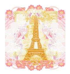 Eiffel tower artistic card decorative floral frame vector