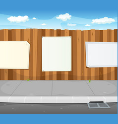 Empty signs on urban wood fence vector