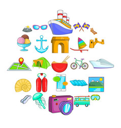 Exploring the world icons set cartoon style vector