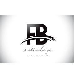 Fb f b letter logo design with swoosh and black vector