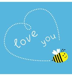 Flying bee Dash heart in the sky Card vector
