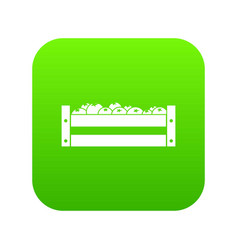 fresh vegetables in a box icon digital green vector image