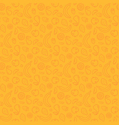 Fruits and berries on yellow seamless pattern vector
