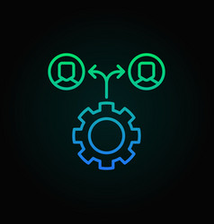 gear with people colored icon - outsourcing vector image