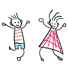 girl and boy in the style of childrens drawings vector image