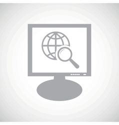 Global search grey monitor icon vector