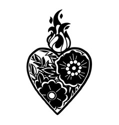 graphic heart with floral decorations vector image