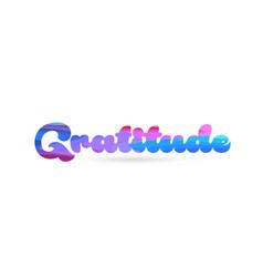 Gratitude pink blue color word text logo icon vector