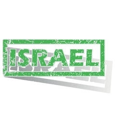 Green outlined Israel stamp vector
