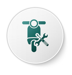 Green scooter with screwdriver and wrench icon vector