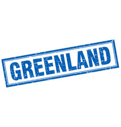 Greenland blue square grunge stamp on white vector