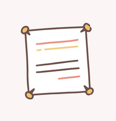 Hand drawn note paper with line attached with four vector