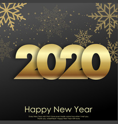 happy new year christmas card with golden vector image