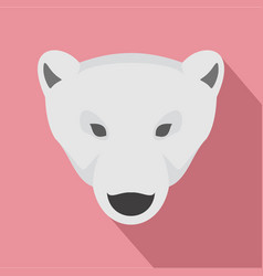 Head of polar bear icon flat style vector