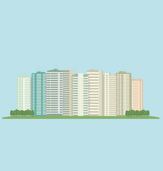 high-rise buildings of the city and a green field vector image
