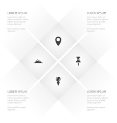 icon travel set of pointer direction pin and vector image